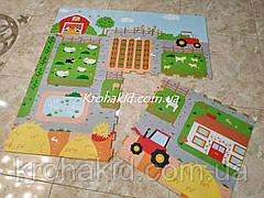 Детский EVA коврик-пазл для игр на полу плотный с рисунком (размер см: 60*60, в упаковке 4 плиты)