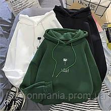 Худи женское оверсайз белый, чёрный, зелёный
