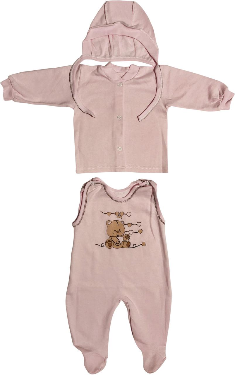 Детский тёплый костюм с начёсом рост 62 2-3 мес хлопковый футер розовый костюмчик на девочку комплект для новорожденных малышей Р524
