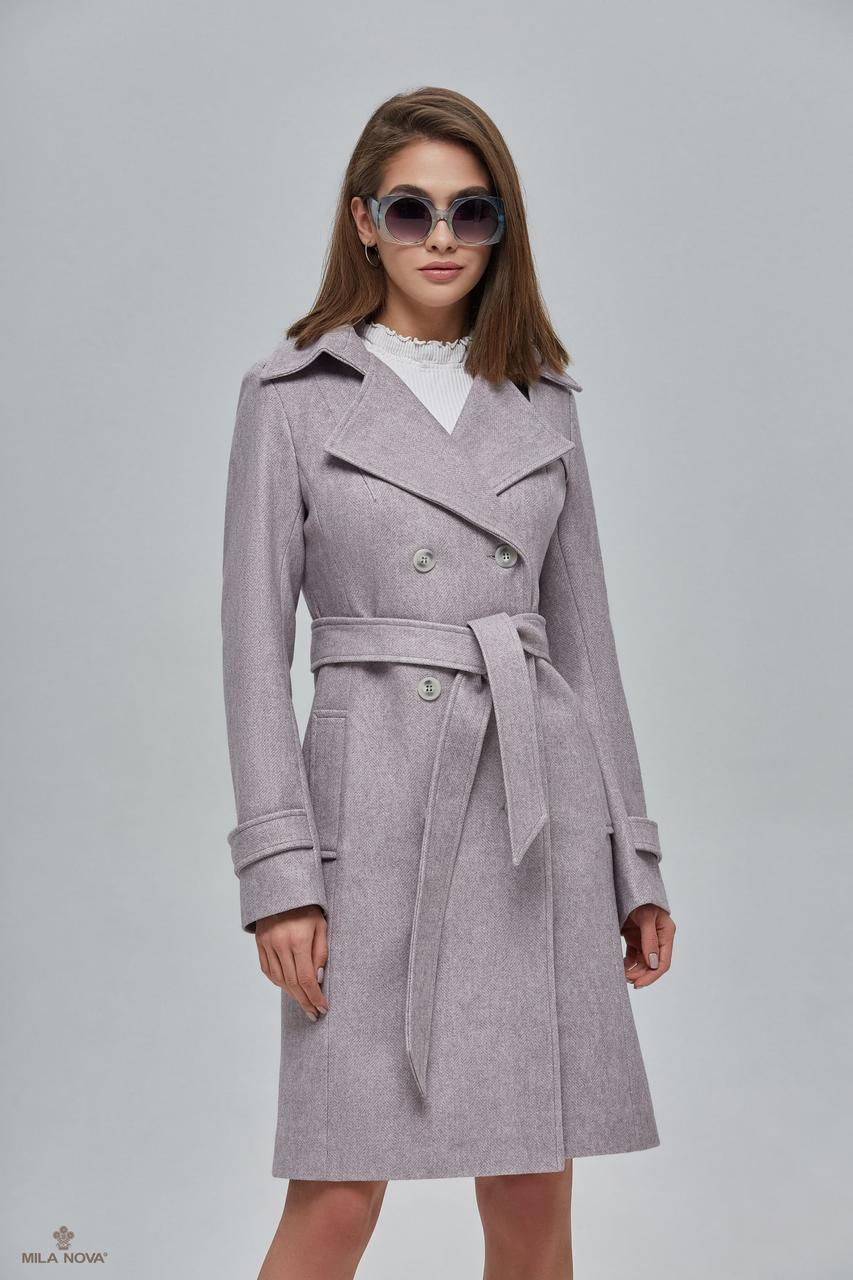 Женское демисезонное пальто - тренч ПВ-88 Капучино ТМ Mila Nova