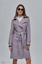 Женское демисезонное пальто  - тренч ПВ-88 Сирень ТМ Mila Nova