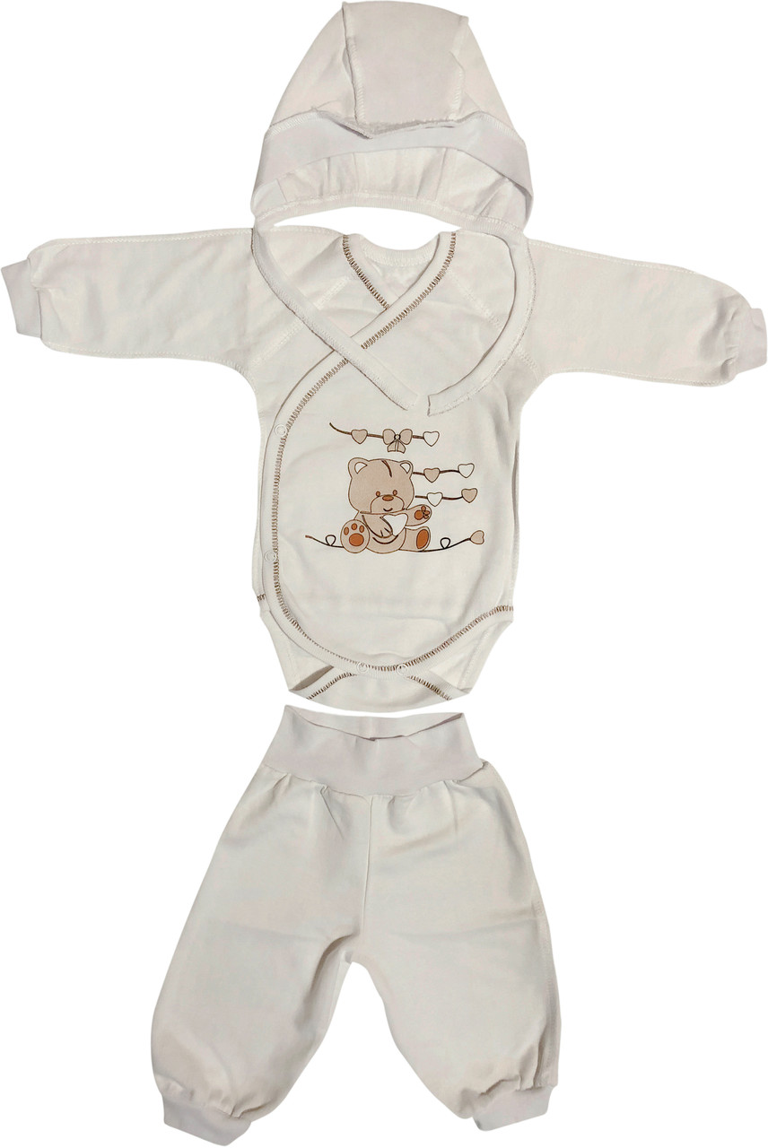 Тёплый костюм с начёсом для новорожденных рост 62 2-3 мес на мальчика девочку комплект хлопковый футер белый