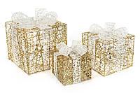 Набор декоративных подарков (3шт) с подсветкой, 20см, 25см, 30см, цвет - золото с белым BonaDi NY12-337
