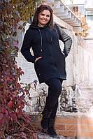 Женский кардиган, ткань: трехнитка на флисе, теплый с капюшоном (44-50), фото 1
