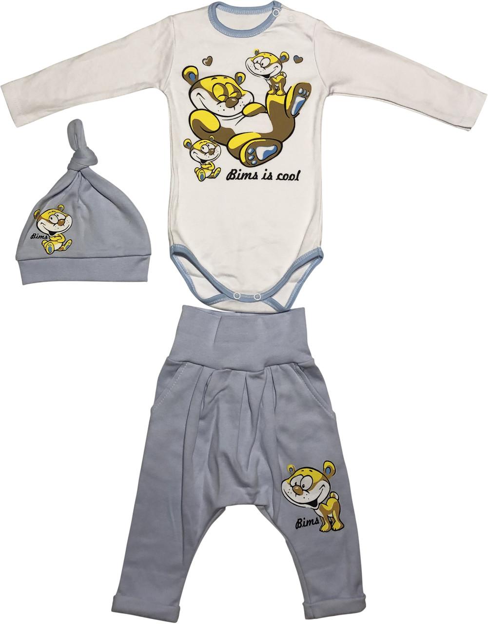 Теплий костюм з начосом на хлопчика ріст 62 2-3 міс для новонароджених комплект дитячий трикотажний блакитний