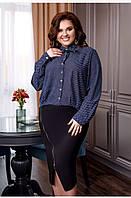 Женская блузка, ткань:креп шифон с удлиненной спинкой, на пуговицах с длинным рукавом(42-56), фото 1