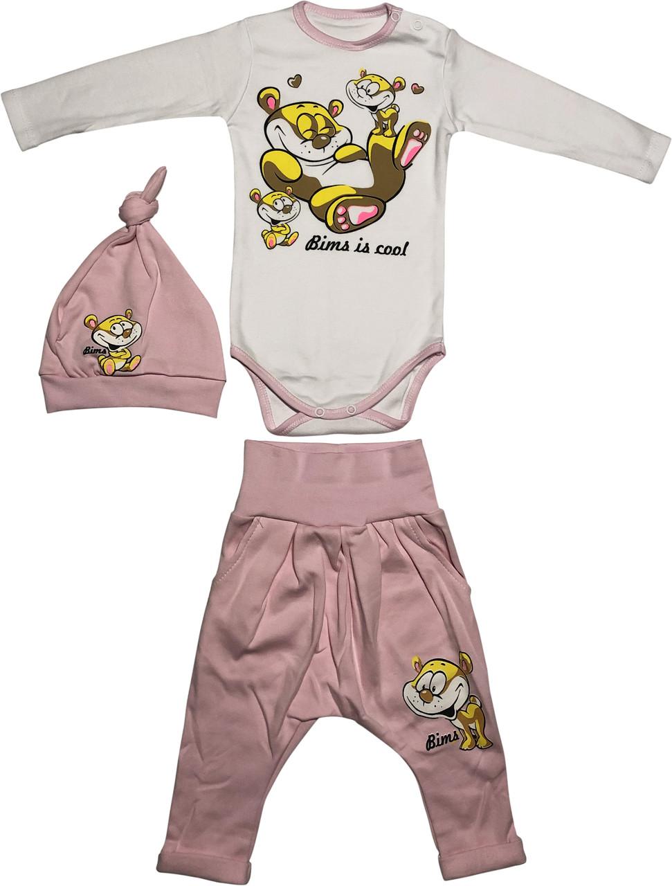 Теплий костюм з начосом на дівчинку зріст 62 2-3 міс для новонароджених комплект трикотажний інтерлок рожевий