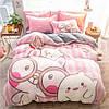 Комплект постельного белья Плюшевый ЕВРО микрофибра Homytex Розовое милое