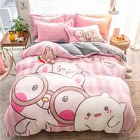 Комплект постельного белья Плюшевый ЕВРО микрофибра Homytex Розовое милое, фото 1