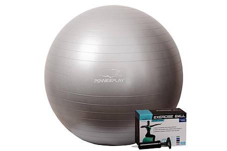 Мяч для фитнеса PowerPlay 4001 75 см Серебряный + насос, фото 2