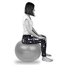 М'яч для фітнесу PowerPlay 4001 75см Срібний + насос, фото 2