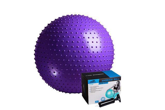 М'яч-масажер для фітнесу PowerPlay 4002 75см Фіолетовий + насос