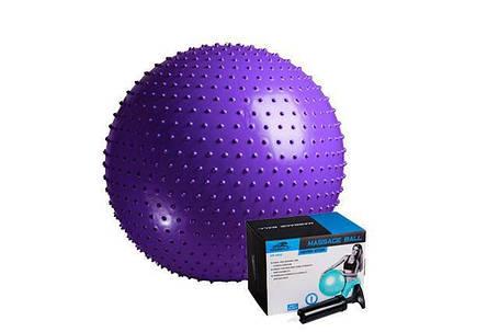 М'яч-масажер для фітнесу PowerPlay 4002 75см Фіолетовий + насос, фото 2