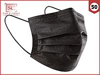 Маски медицинские черные 50 шт. одноразовые трехслойные защитные для лица на резинке с фиксатором