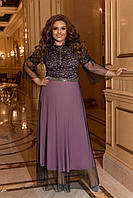 Двухслойное нарядное женское длинное платье большого размера, размеры 50-52, 52-56, 56-58