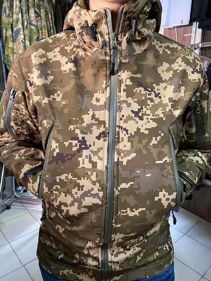 Тактическая куртка софтшел Softshell MM14 пиксель ВСУ