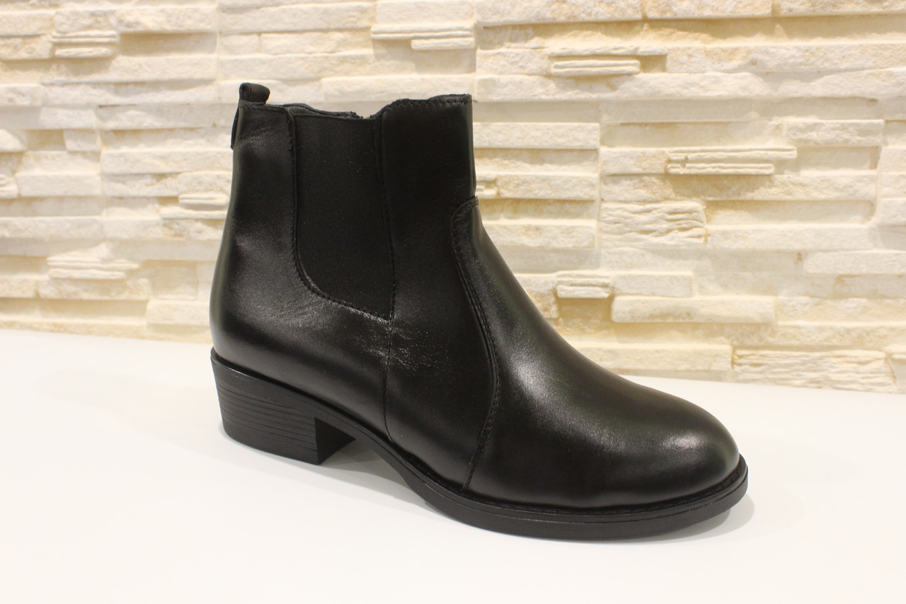 Ботильоны женские черные натуральная кожа на небольшом каблуке Д640