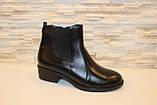 Ботильоны женские черные натуральная кожа на небольшом каблуке Д640, фото 2