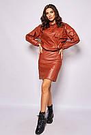 Костюм из джемпера и юбки из искусственной кожи (42)