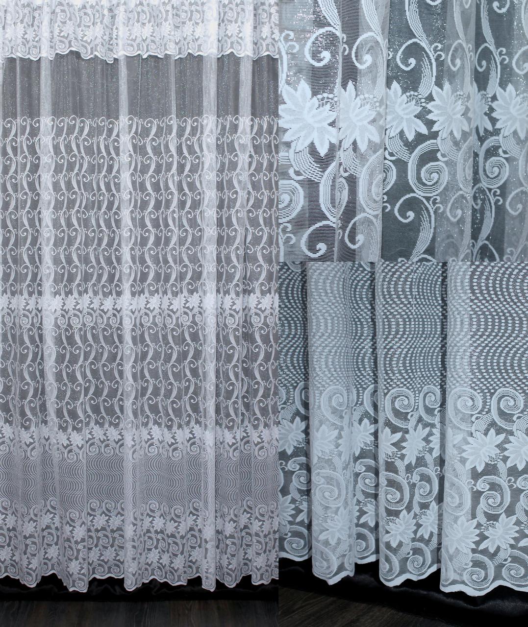 """Тюль жаккард """"Премиум"""" с галстуком ,(3х2,5) цвет белый. Код 643т 40-302"""
