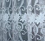 "Тюль жаккард ""Премиум"" с галстуком ,(3х2,5) цвет белый. Код 643т 40-302, фото 3"