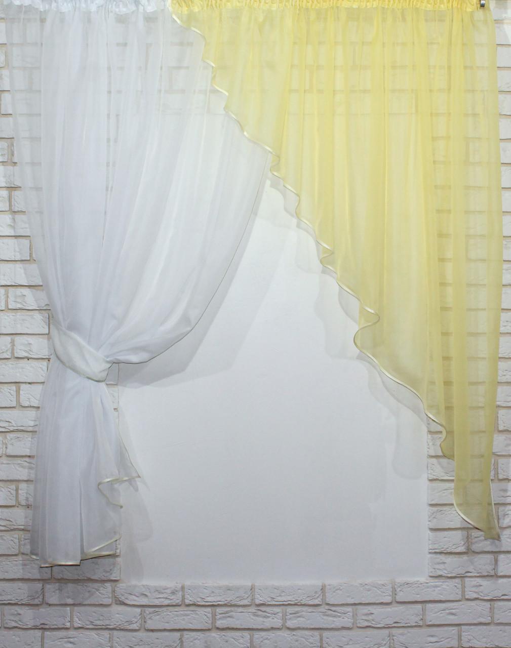 Комплект кухонные шторки с подвязками №69 Цвет белый с желтым