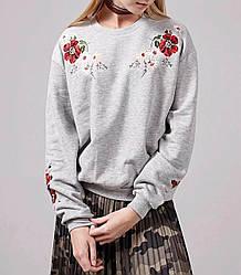 Свитшот женский с цветочной вышивкой Poppy flower Berni Fashion (S)