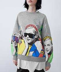 Свитшот женский oversize с принтом Stylish girl Berni Fashion (S)