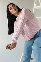 Джемпер ажурной толстой вязки с красивым узором LUREX - пудра цвет, L (есть размеры), фото 1