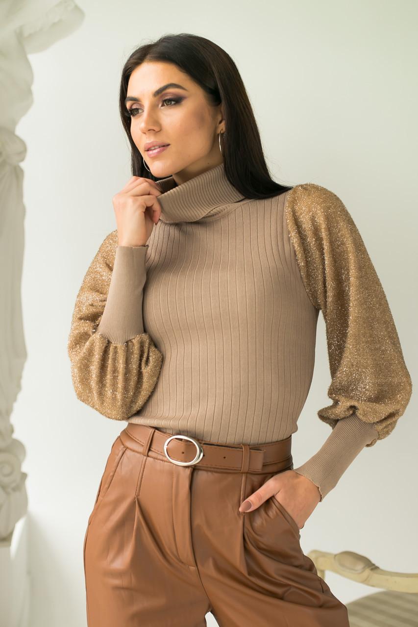 Облегающий свитер с трендовыми объемными рукавами блестящая травка Jasmine - кофейный цвет, S/M (есть размеры)