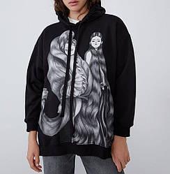 Худи женское удлиненное с принтом и разрезами по бокам Style Berni Fashion (S) С капюшоном
