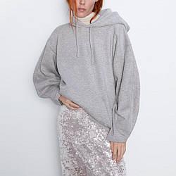 Худи женское с капюшоном и карманами спереди Ordinary, серый Berni Fashion (S)