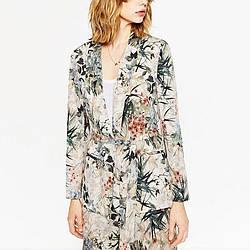 Блейзер женский удлиненный с поясом Exotic flowers Berni Fashion (S)