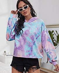 Худи женское с капюшоном расцветки tie dye Heaven Berni Fashion (S) Фиолетовый