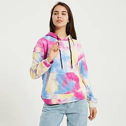 Худи женское с карманом спереди в стиле tie dye Pied Berni Fashion (S)