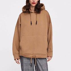 Худи женское oversize с капюшоном и кулиской снизу Sport life Berni Fashion (S) С утеплителем