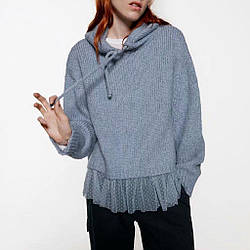 Худи женское вязаное oversize с капюшоном Ruches Berni Fashion (S)