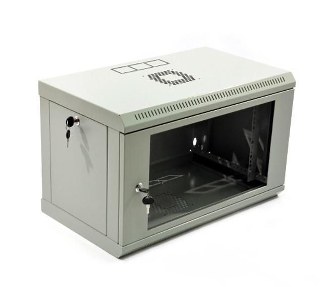 Настенный серверный шкаф 6U, 600х350х373 мм (ш*г*в), эконом, акриловое стекло, серый