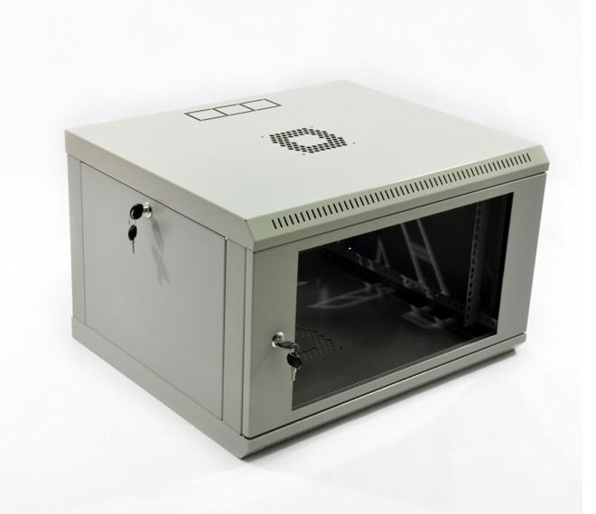 Серверный шкаф настенный 6U, 600х500х343 мм (ш*г*в), эконом, акриловое стекло, серый