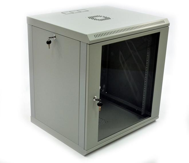 Настенный монтажный шкаф 12U, 600х600х640 мм (ш*г*в), эконом, акриловое стекло