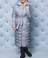 Женская зимняя длинная куртка, женская куртка силикон, 42,44,46,48-50,52-54,56-58, черный, бордовый, серебро