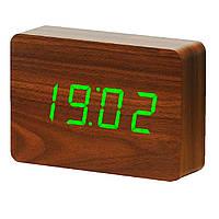 "Часы на подарок руководителю. Смарт-будильник с термометром ""BRICK"" орех Gingko GK15R8"
