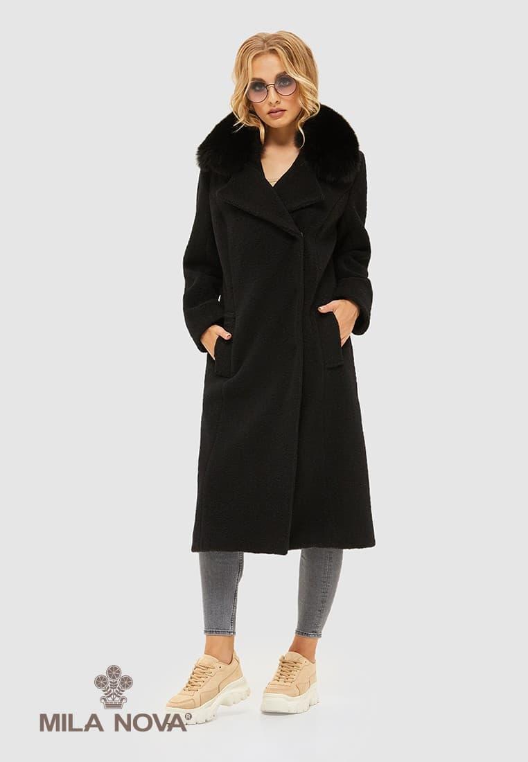Женское демисезонное пальто из альпаки ПВ-97 Черный