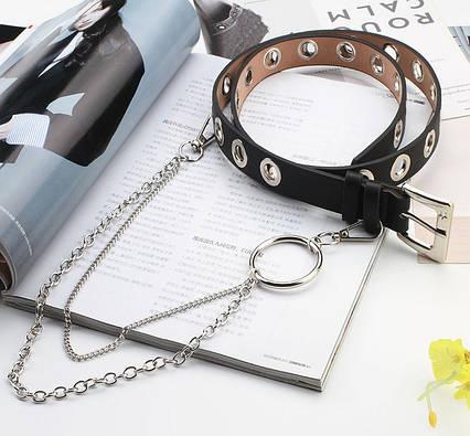 Ремень Пояс City-A Belt 100 см PU Кожа с Цепочкой и Кольцом Однорядный Черный, фото 2