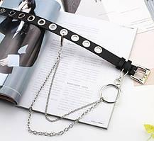 Ремень Пояс City-A Belt 100 см PU Кожа с Цепочкой и Кольцом Однорядный Черный, фото 3
