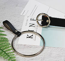 Ремень Пояс City-A Belt 105 см PU Кожа с подвеской Кольцом пряжка Кольцо Черный, фото 2