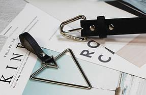 Ремень Пояс City-A Belt 105 см PU Кожа с подвеской Треугольником пряжка Треугольник Черный, фото 2