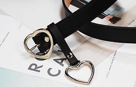 Ремень Пояс City-A Belt 105 см PU Кожа с подвеской Сердцем пряжка Сердце Черный, фото 2