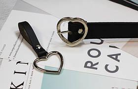 Ремень Пояс City-A Belt 105 см PU Кожа с подвеской Сердцем пряжка Сердце Черный, фото 3