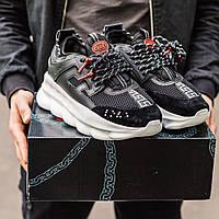 Мужские кроссовки Versace Chain Reaction черные, Версаче Чейн Реакшн, код IN-186